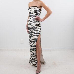 Vintage 90s XS Silk Tiger Zebra Sequin Formal Gown